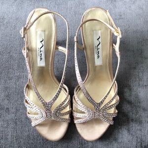 Nina Bobbie JS Champagne Slingback Heels